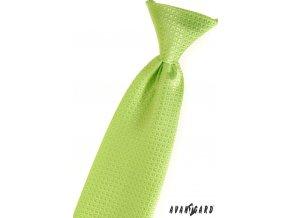 Zelená chlapecká kravata s kostkovaným vzorem_