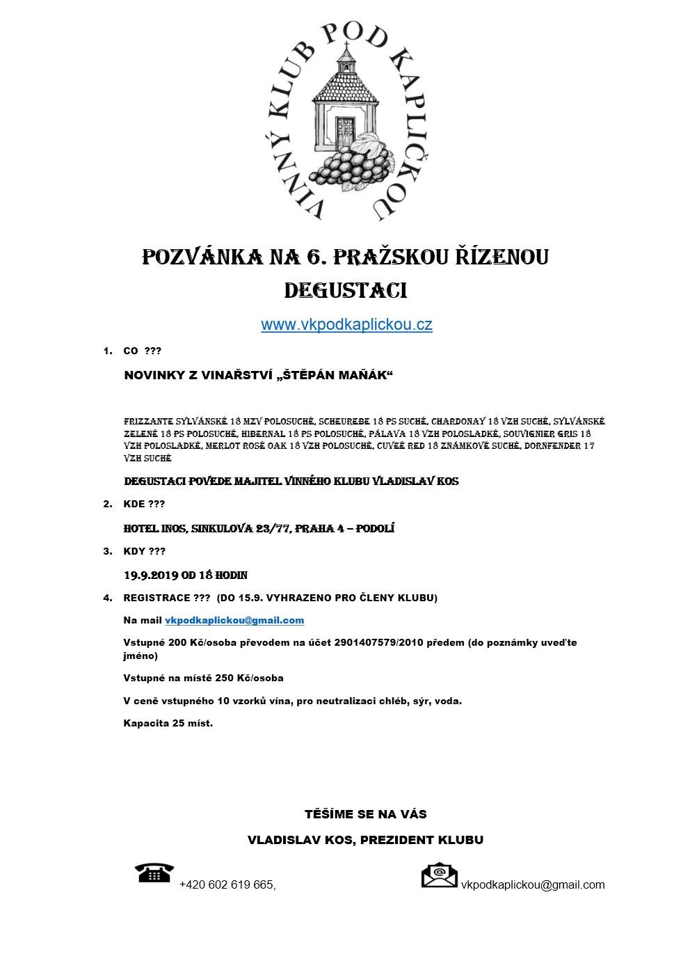 Pozvánka na 6.pražskou degustaci