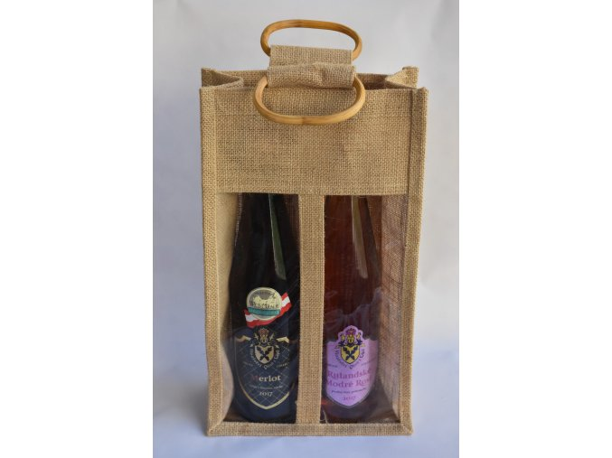 jutová taška 2 vína