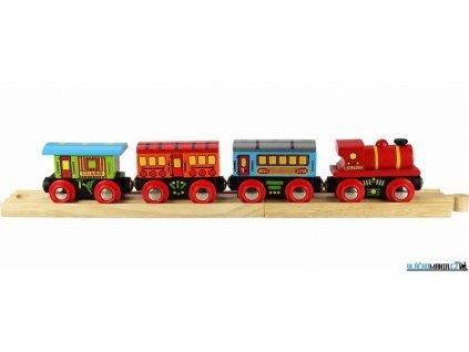 Vláček - Osobní vlak + 3 koleje Bigjigs