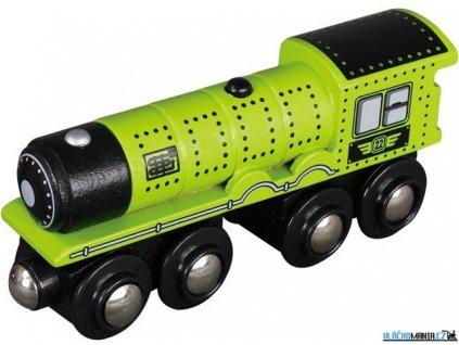 Mašinka - Lokomotiva parní zelená dlouhá Maxim