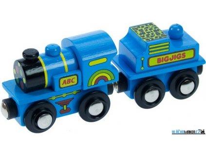 Vláček - Lokomotiva modrá ABC s tendrem Bigjigs