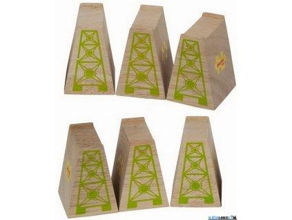 Mostní pilíře - Dřevěné, 6ks Bigjigs