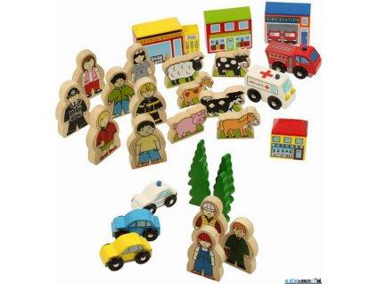 Set příslušenství - Budovy, figurky, auta, 30ks Bigjigs