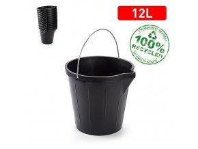 Kbelík STRONG 12l černá; 31x31x27 cm; plast, kov