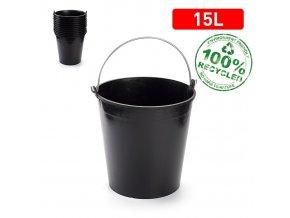 Kbelík 15l SOLID černý s měrkou; 32,5 x 31 x 32,5cm; plast, kov
