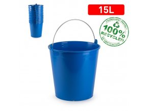 Kbelík 15l SOLID modrý s měrkou; 32,5 x 31 x 32,5cm; plast, kov