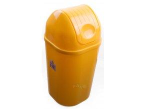 Koš DinDon ŽLUTÁ odpadkový hranatý s víkem; 67x34 cm; 50 l; plast