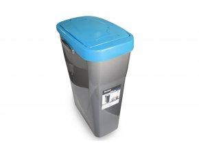 Koš na tříděný odpad modré víko; 51x21,5x36 cm; 25 l; plast