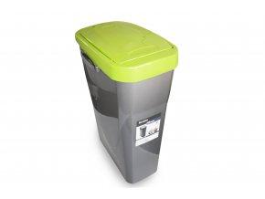 Koš na tříděný odpad zelené víko; 51x21,5x36cm; 25 l; plast
