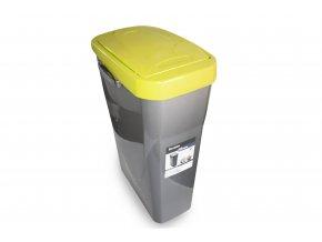 Koš na tříděný odpad žluté víko; 51x21,5x36cm; 25 l; plast