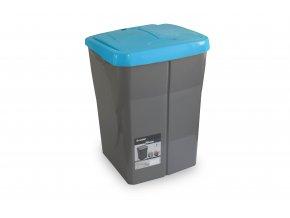 Koš na tříděný odpad modré víko; 51x36x36,5cm; 45 l; plast