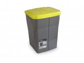 Koš na tříděný odpad zelené víko; 51x36x36,5 cm; 45 l; plast