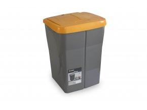 Koš na tříděný odpad oranžové víko; 51x36x36,5 cm; 45 l; plast