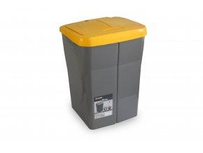 Koš na tříděný odpad žluté víko; 51x36x36,5 cm; 45 l; plast