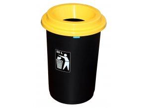 Koš EKO žluté víko; 60x41,5 cm; 50 l; plast