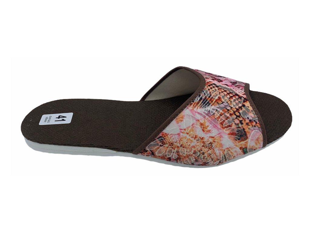 Dámské domácí pantofle Bokap 003 hnědo-oranžové