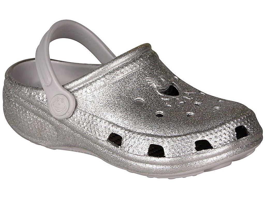 Dětské sandály Crocs Coqui Big Frog stříbrné
