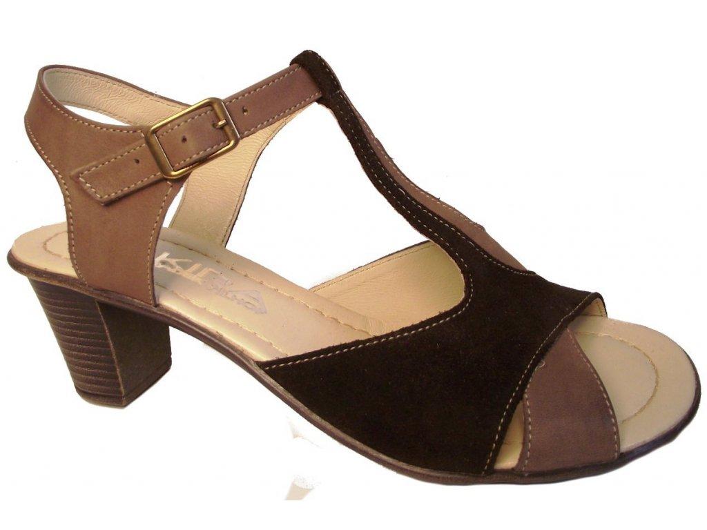Dámské letní boty na podpatku Kira 644 hnědé - VLAPA.cz 4d9026c6e0