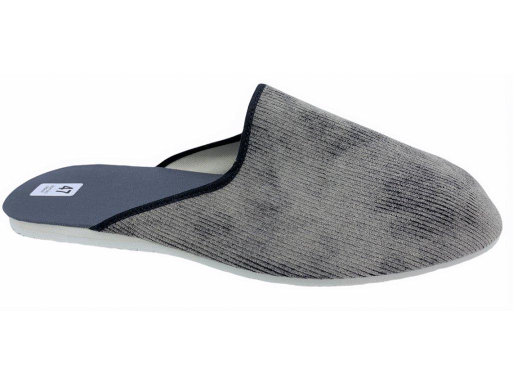 Pánské domácí pantofle Bokap 045 manžestr šedý