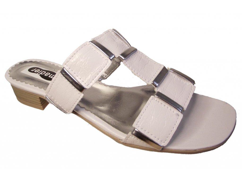 Dámská letní pantofle na podpatku Madler bílé