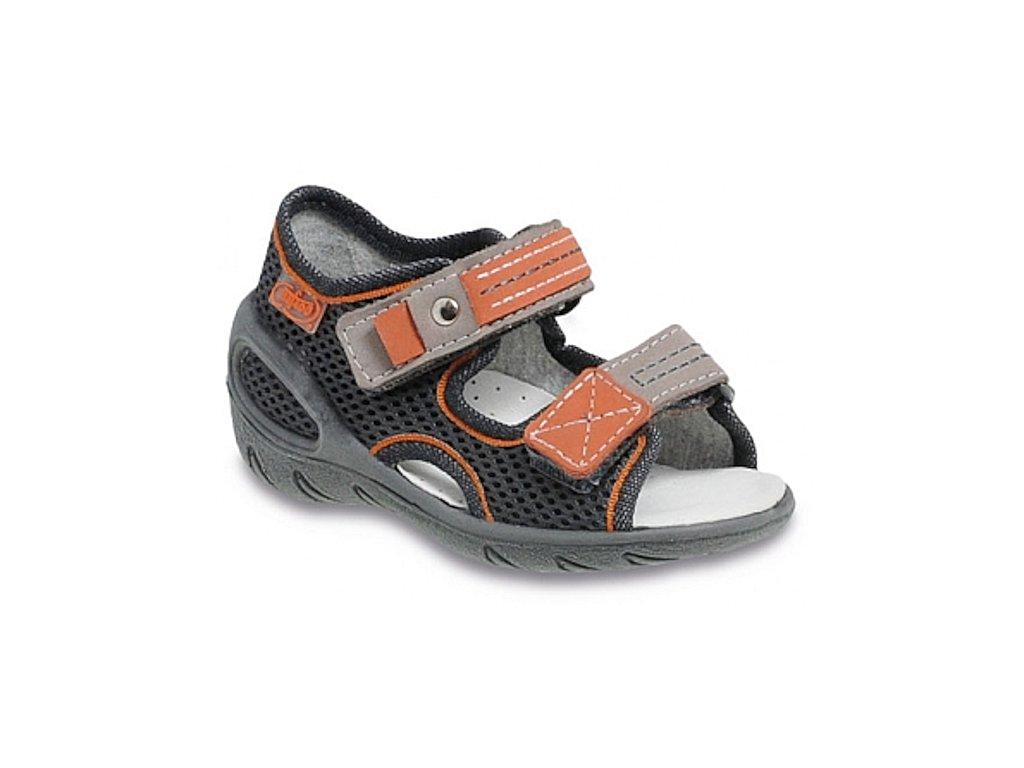 Dětské textilní sandálky Befado 065P096 šedé