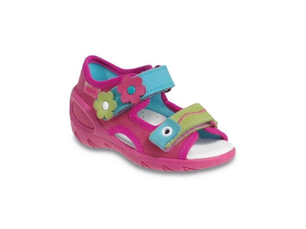 Dětské textilní sandálky Befado 065X091 růžové