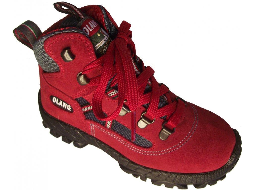 5f83429b0a6 Dětská kotníková treková obuv Olang Cortina kid.Tex červená