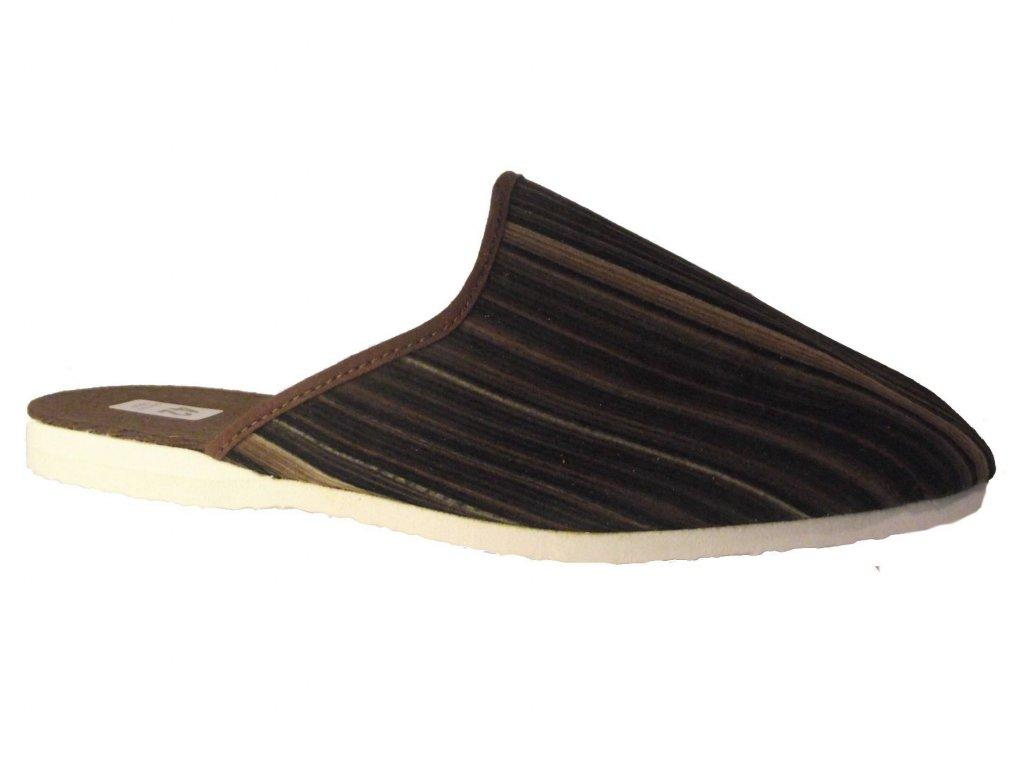 Pánské domácí pantofle Bokap 045 hnědá s proužky