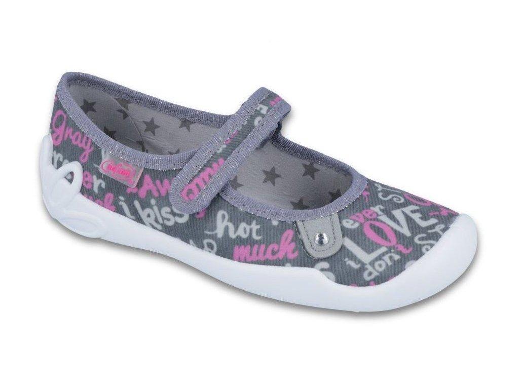Dětské textilní bačkůrky Befado 114y312 šedé - VLAPA.cz f7fd375588