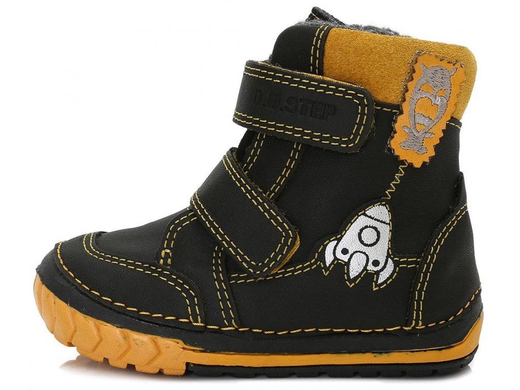 Dětské zimní kotníkové boty D.D.step 029-303 černé