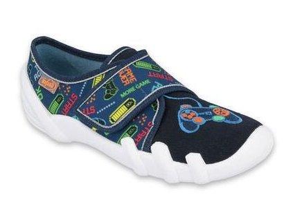Dětské textilní bačkůrky Befado 273Y307 modré