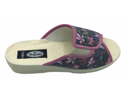 Dámské domácí pantofle na klínku Rogallo 7101 květinové