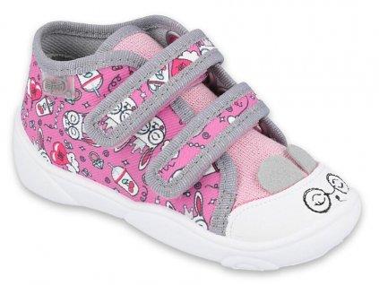 Dětské textilní kotníkové tenisky Befado 212P070 růžové