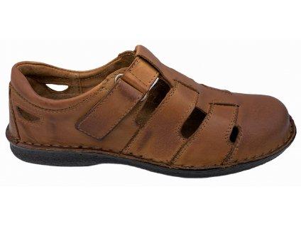 Pánské kožené zdravotní sandály Orto Plus 216 hnědé