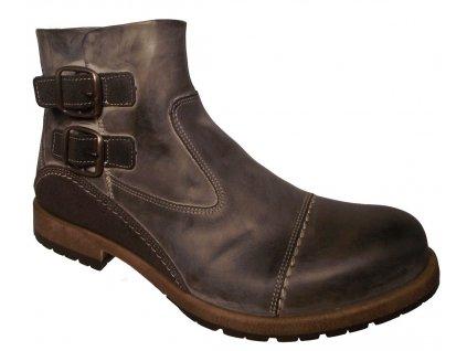 Pánské zimní kožené boty Kira F320 hnědé