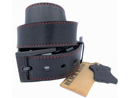 Pánský černý kožený pásek Black Hand 128-98