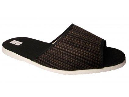 Pánské domácí pantofle Bokap 017 černo-hnědá proužek