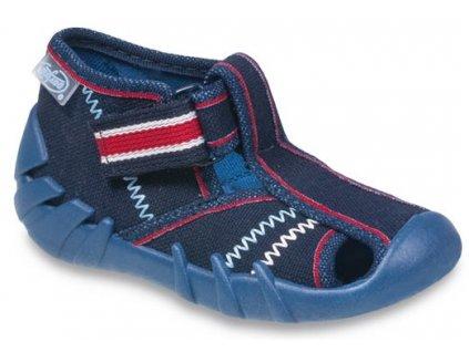 15f27bee996 Dětské textilní bačkůrky Befado 190p076 modré