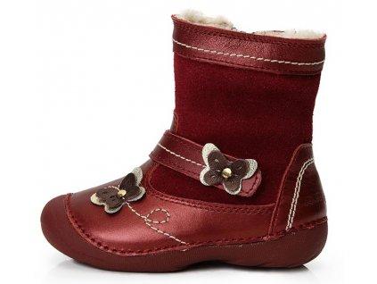 Dětské zimní kotníkové boty D.D.step 015-124 vínové