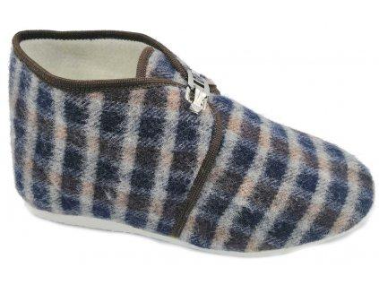 Dámské domácí papuče s přezkou Bokap 063 modrá kostka
