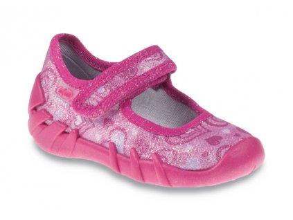 Dětské textilní bačkůrky Befado 109p162 růžová