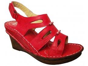 Dámské letní boty na klínku KTR 104573 červené