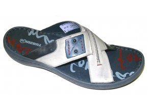Pánské kožené pantofle Hilby Krisbut 1113 šedé
