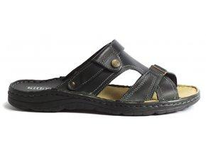 Pánské kožené pantofle Hilby 042 černé
