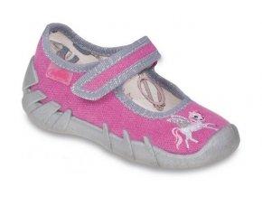 Dětské textilní bačkůrky Befado 109P142 růžové