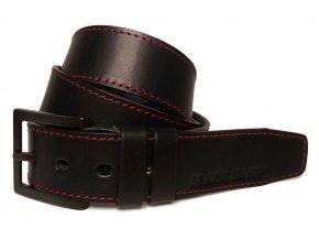 Pánský černý kožený pásek Black Hand 123