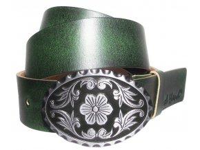 Dámský zelený kožený pásek Black Hand 096
