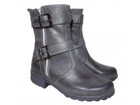 Dámská zimní kožená obuv Kira 668 šedá