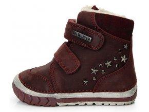 Dětské zimní kotníkové boty D.D.step 029-24 vínové